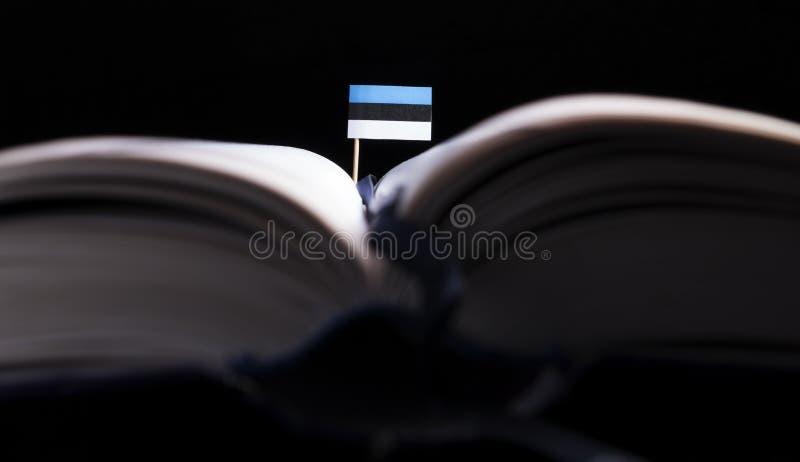 Estlandse vlag in het midden van het boek royalty-vrije stock fotografie