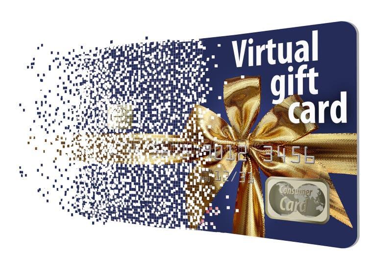 Esto es una tarjeta del e-regalo, carte cadeaux virtual que se desintegra en los pixeles fotografía de archivo libre de regalías