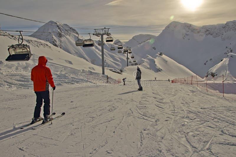 Esto-Sadok (索契,俄罗斯)是其中一在subtropics的最佳的冬天滑雪胜地 图库摄影