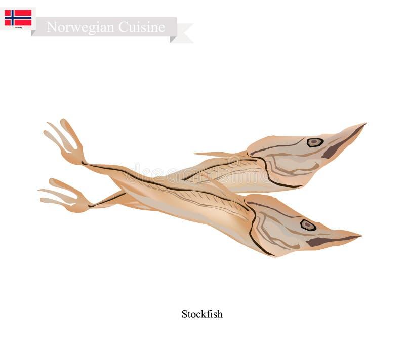 Estocafís o pescados sin sal, una comida popular en Noruega ilustración del vector