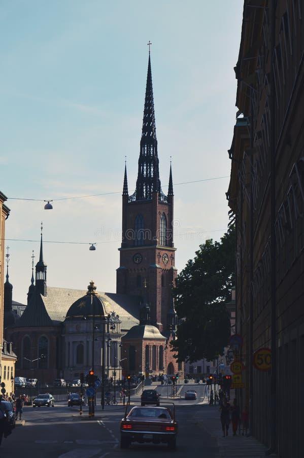 Estocolmo, Suecia - iglesia de Riddarholmen, la iglesia del entierro de los monarcas suecos en la isla de Riddarholmen en Gamla S imagen de archivo