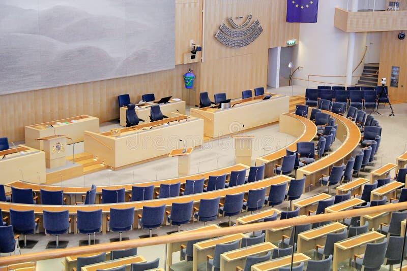 Estocolmo, Suecia - 2018 09 30: Interior del parlamento de Estocolmo adentro imagen de archivo