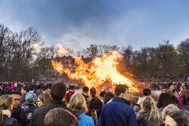 Estocolmo Suecia: Tradición del fuego de Valborg foto de archivo