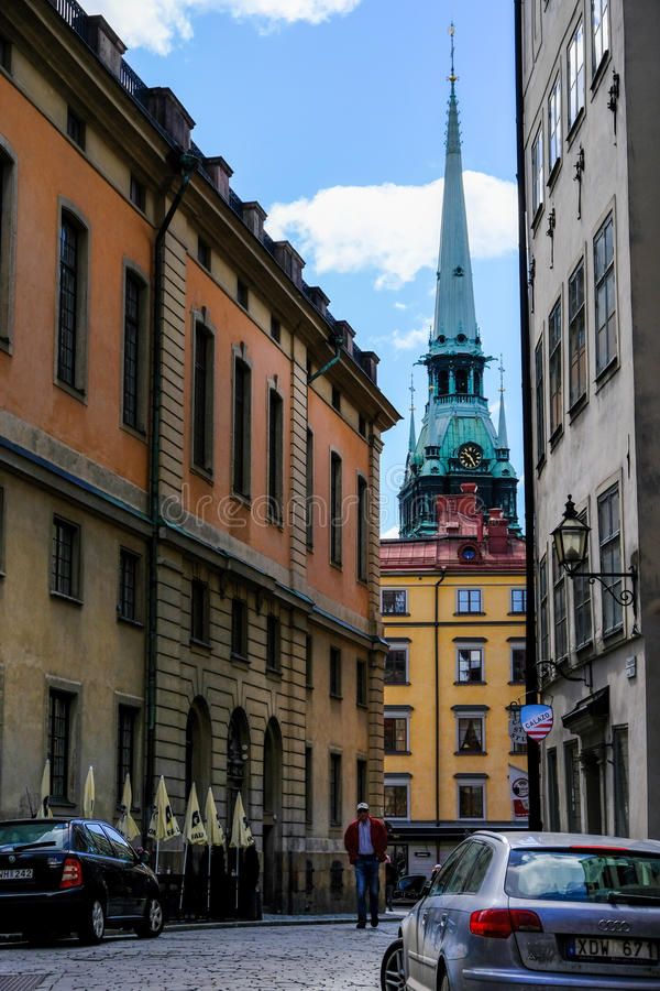 Estocolmo, Suecia, turista que camina foto de archivo