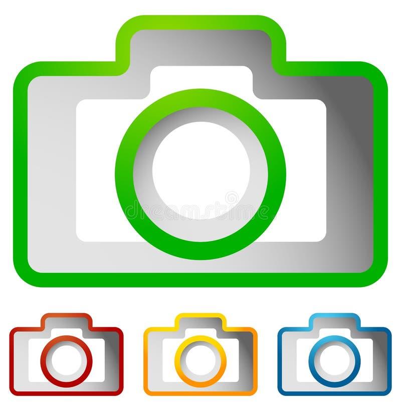 Estojo compacto - ícone da câmera da foto do passatempo no co verde, vermelho, amarelo, azul ilustração royalty free
