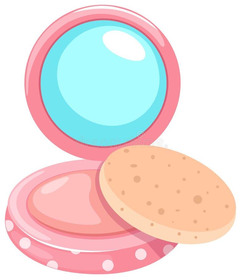 Estojo compacto de pó cosmético com sopro ilustração do vetor