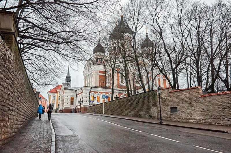 Estonia. The Alexander Nevsky Cathedral in the Old Town of Tallinn. January 2, 2018 royalty free stock images