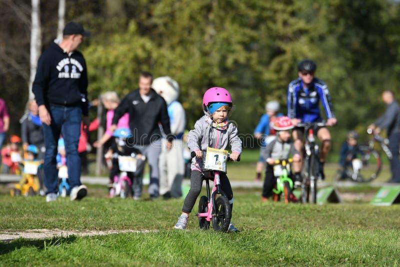 Children`s Events of cycling Marathon. Estonia - 09 15 2018: Children`s Events of cycling Marathon stock image