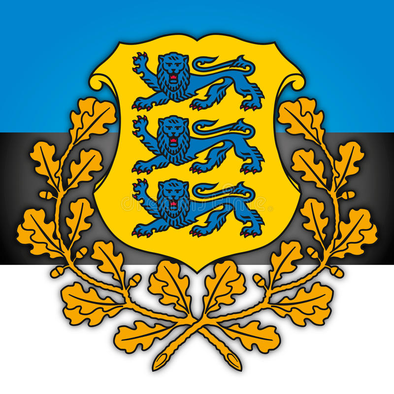 Estonia coat of arms and flag. Estonia Republic seal, vector file, illustration royalty free illustration