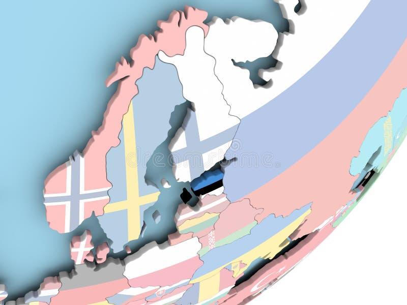 Estonia con la bandera ilustración del vector