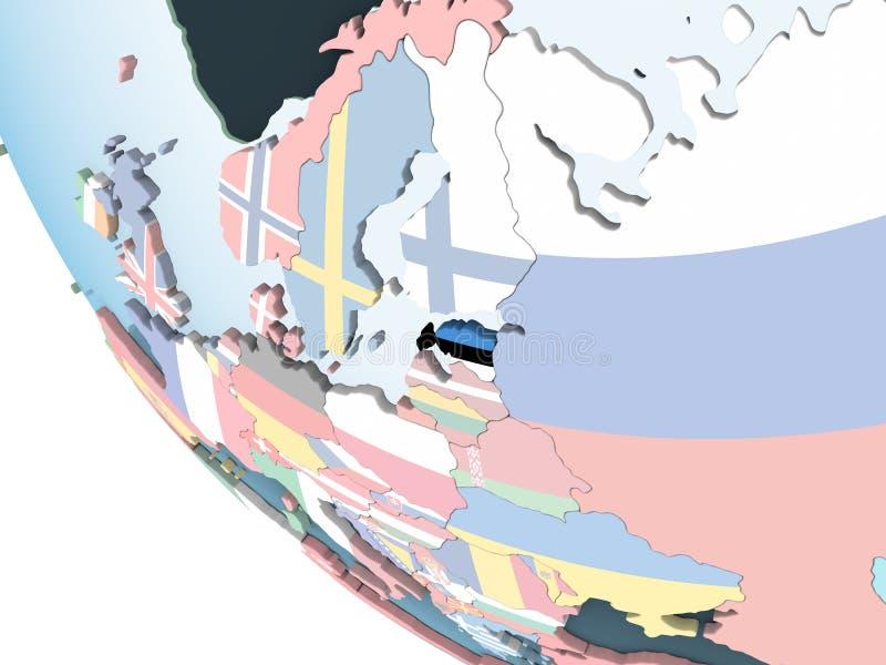 Estonia con la bandera en el globo stock de ilustración