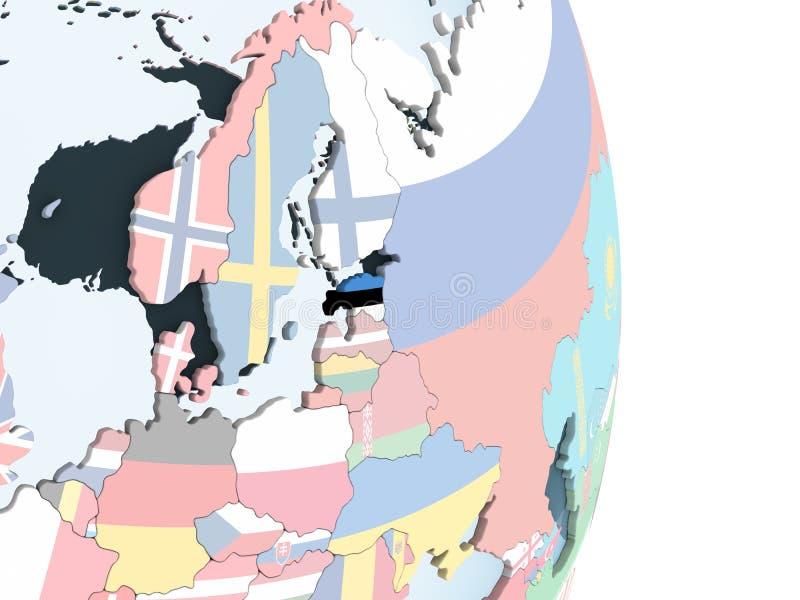 Estonia con la bandera en el globo libre illustration