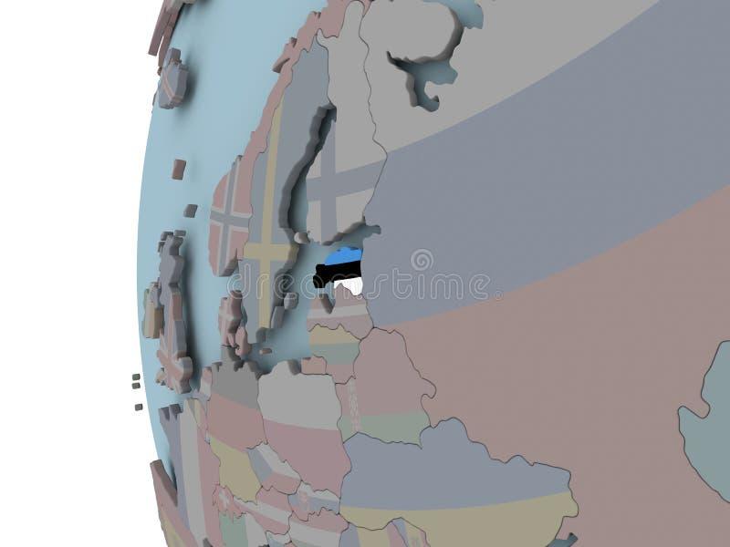 Estonia con la bandera en el globo ilustración del vector