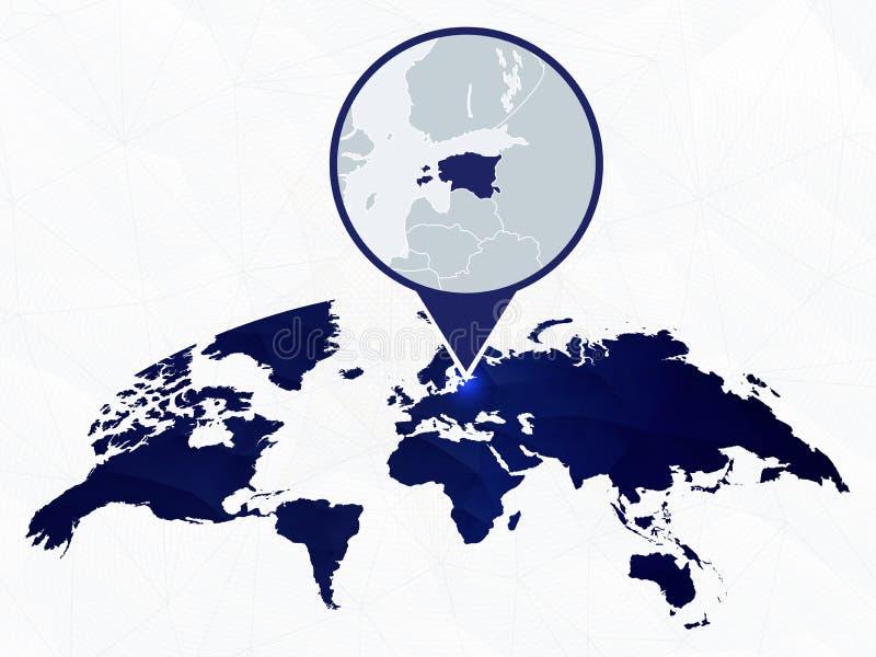 Estonia detalló el mapa destacó en mapa del mundo redondeado azul libre illustration
