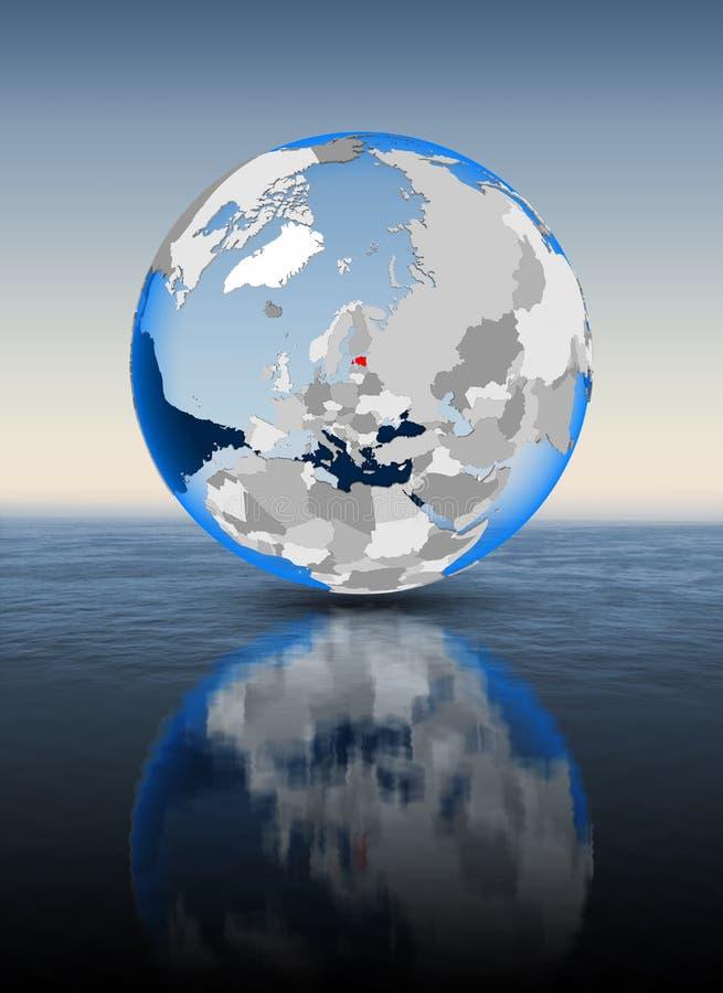 Estonia en el globo en agua stock de ilustración