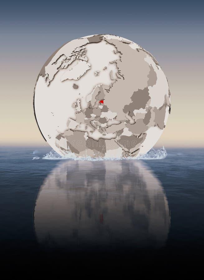 Estonia en el globo en agua ilustración del vector