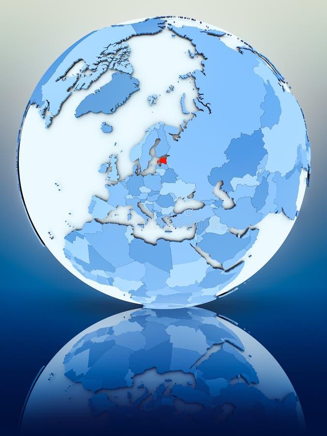 Estonia en el globo azul ilustración del vector