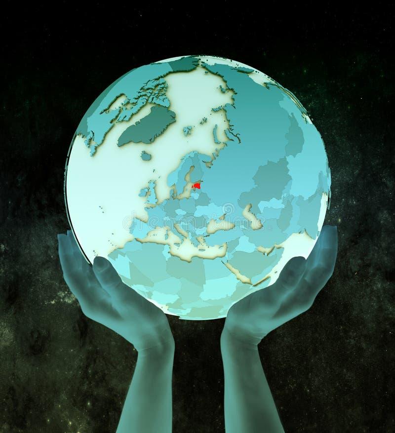Estonia en el globo azul en manos stock de ilustración