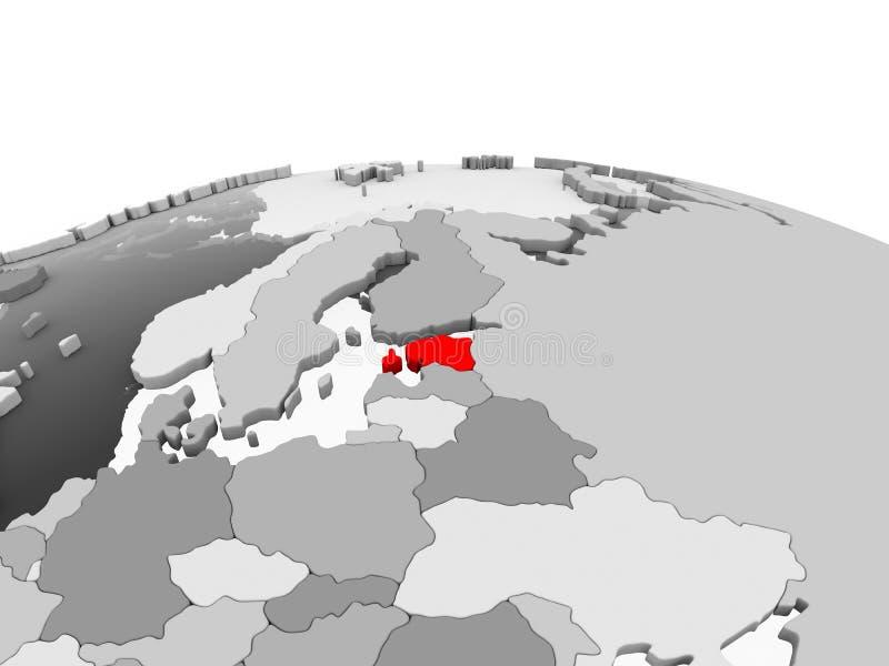 Estonia en el globo gris ilustración del vector