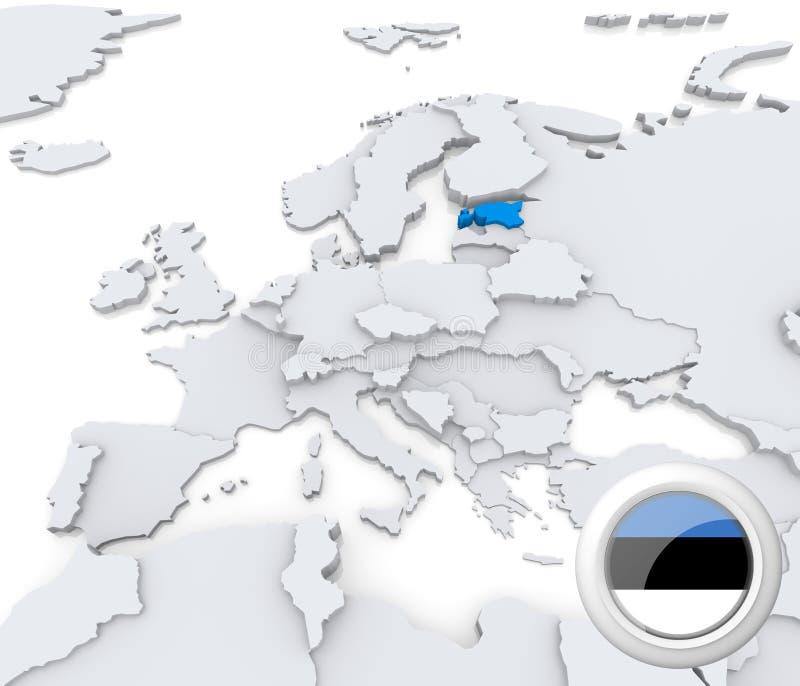 Estonia en el mapa de Europa stock de ilustración