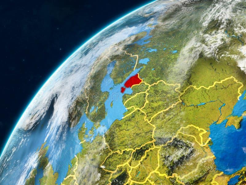 Estonia en la tierra con las fronteras stock de ilustración
