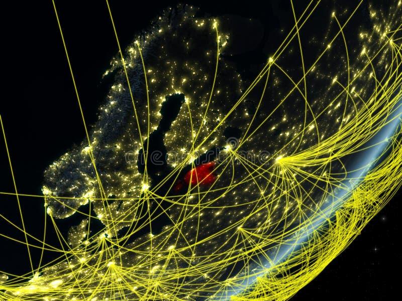 Estonia en la tierra oscura con la red ilustración del vector