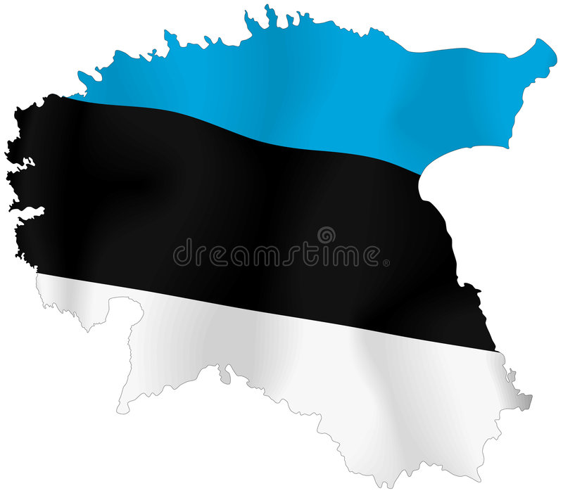 Estonia flag. Vector illustration of a map and flag from Estonia vector illustration