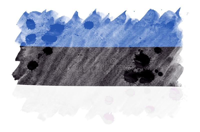 Estonia flag is depicted in liquid watercolor style isolated on white background royalty free illustration