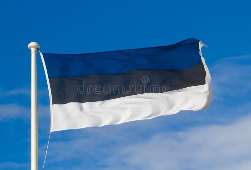 Estonia flag. The flag of Estonia on a flag pole royalty free stock image