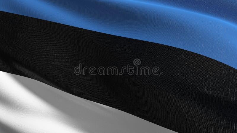 Estonia flagi państowowej dmuchanie w wiatrze odizolowywającym Oficjalny patriotyczny abstrakcjonistyczny projekt 3D renderingu i ilustracji