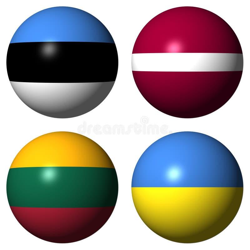 estonia flags latvia lithuania ukraine royaltyfri illustrationer