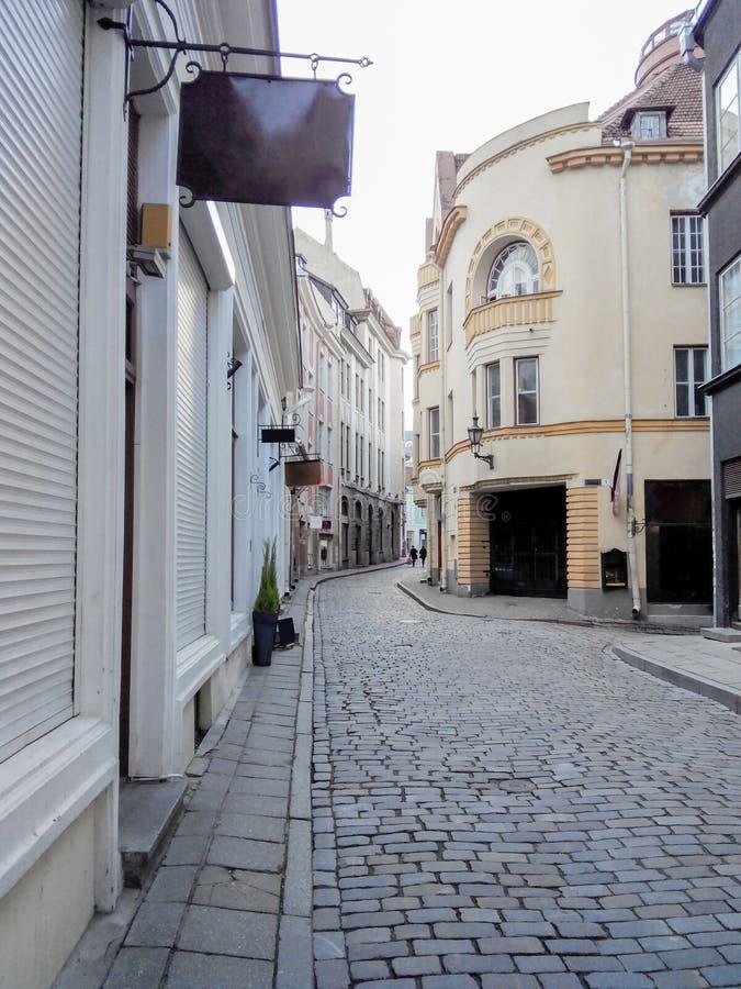 estonia gammal gata tallinn royaltyfria bilder