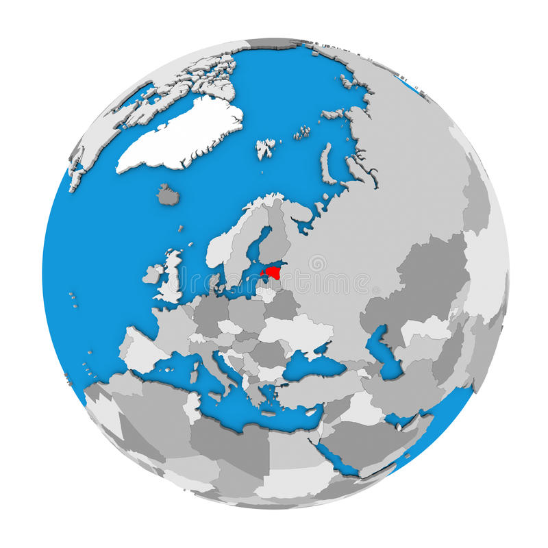 map of estonia highlighted in red on globe 3d illustration isolated on white background