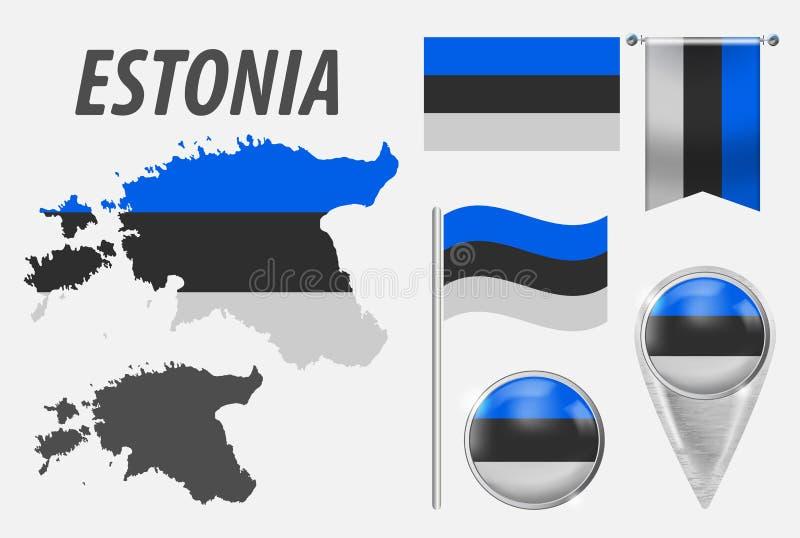 Estonia Kolekcja symbole w kolor fladze pa?stowowej na r??norodnych przedmiotach odizolowywaj?cych na bia?ym tle Flaga, pointer ilustracja wektor