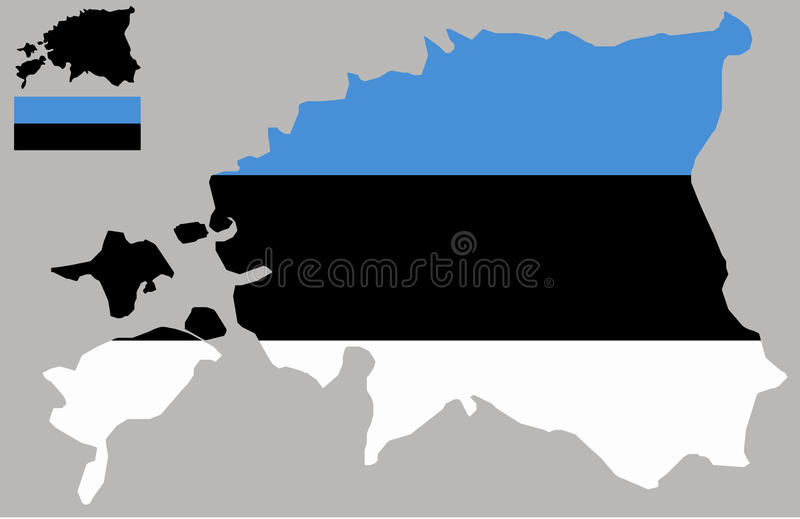 Estonia map and flag vector stock illustration