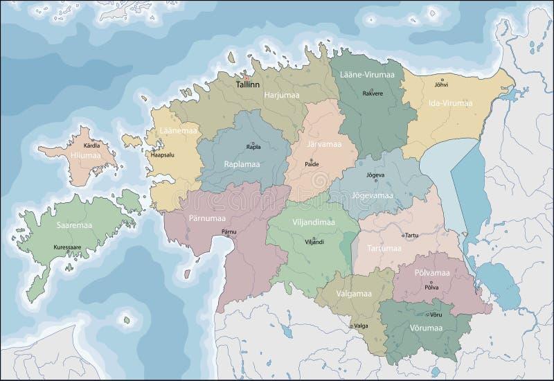 estonia mapa ilustracji