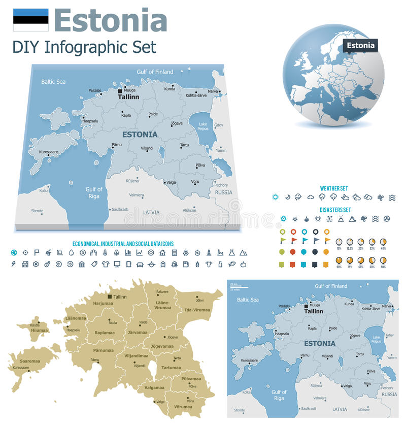 Estonia maps with markers stock vector Illustration of globe 33144789