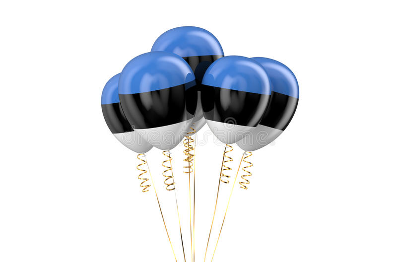 Estonia patriotic balloons, holyday concept. Isolated on white background stock illustration