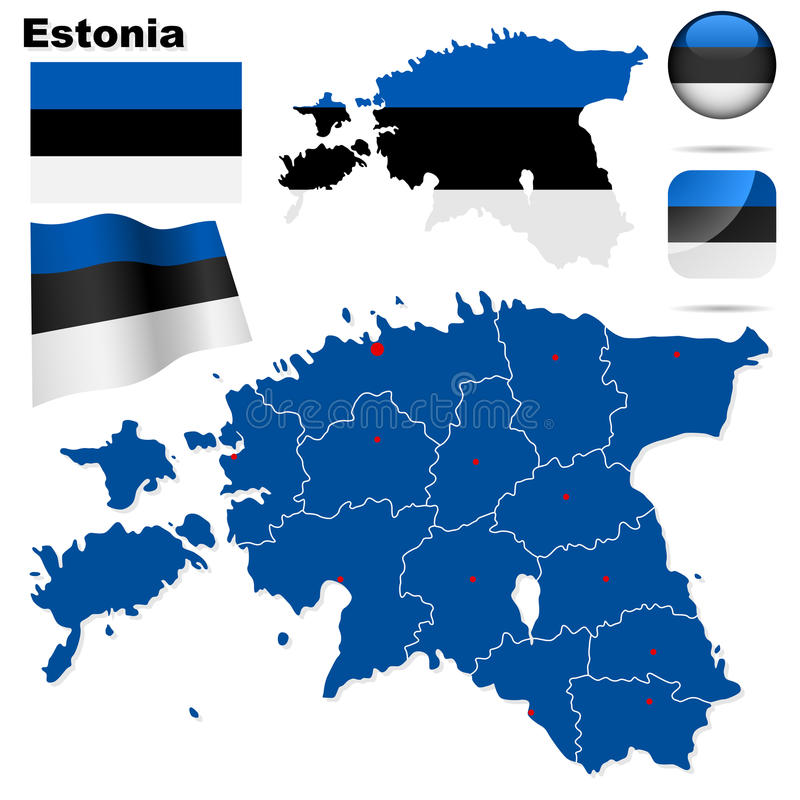 Estonia set. vector illustration
