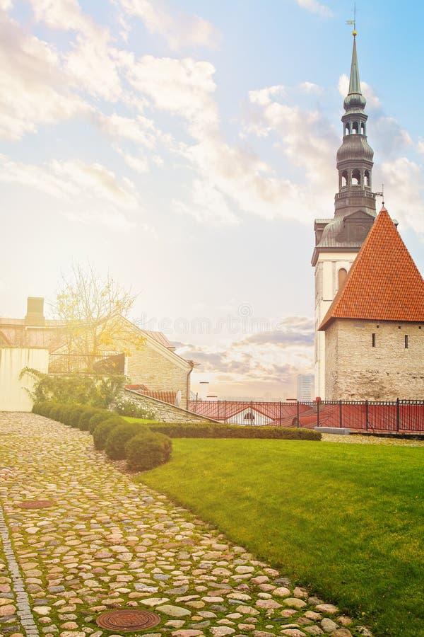 estonia tallin Pejzażu miejskiego widok z lotu ptaka na starym miasteczku z świątobliwy Nicholas kościelny wierza i Toompea wzgór fotografia royalty free
