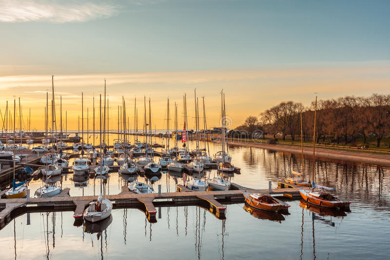 Estonia, Tallinn - 03 MAY 2016: Yachts standing on the dock in the bay stock image