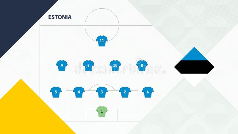 Estonia team preferred system formation 5-4-1, Estonia football team background for European soccer competition.  vector illustration