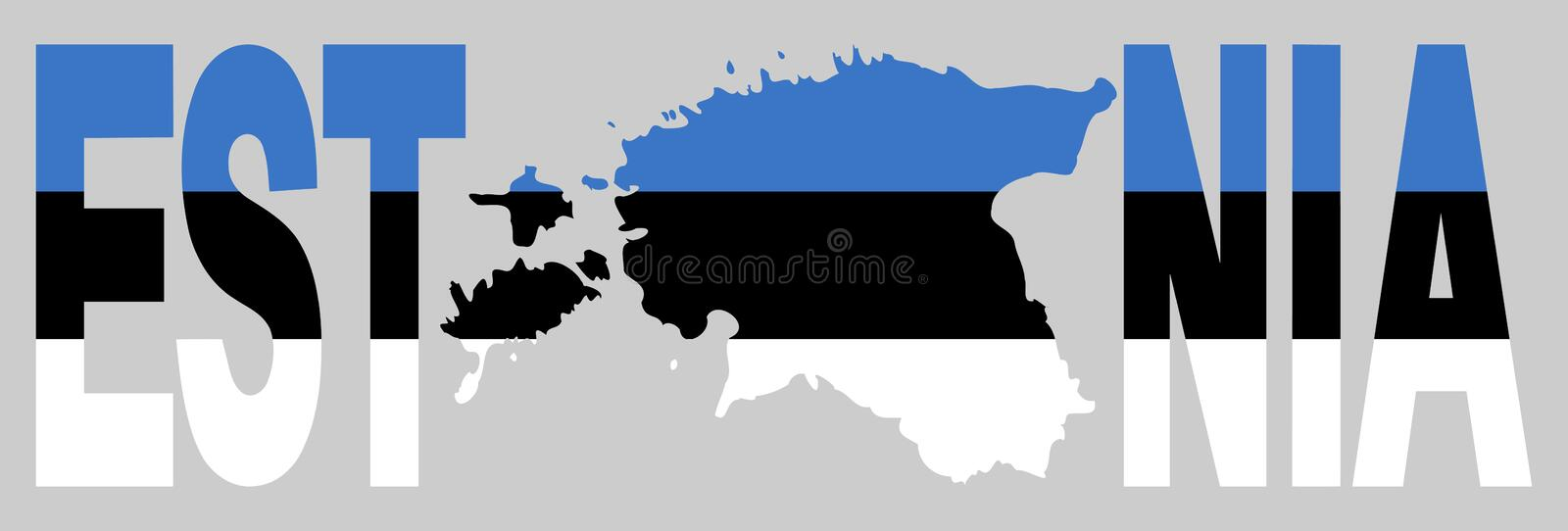 Download Estonia text with map stock vector. Image of estonian - 5471940