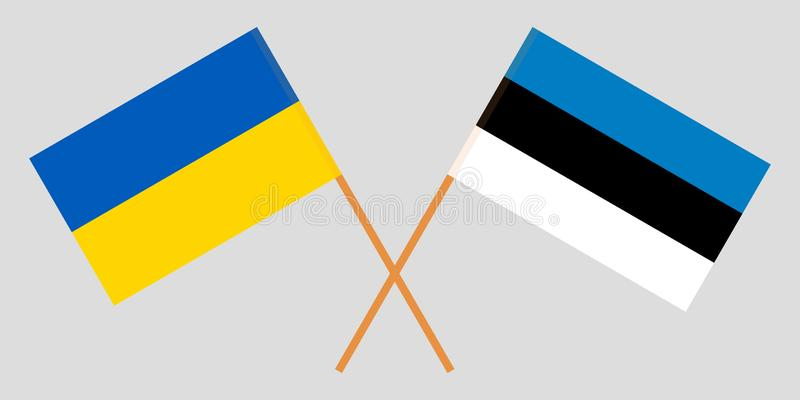 Estonia and Ukraine. The Estonian and Ukrainian flags. Official proportion. Correct colors. Vector. Illustration vector illustration
