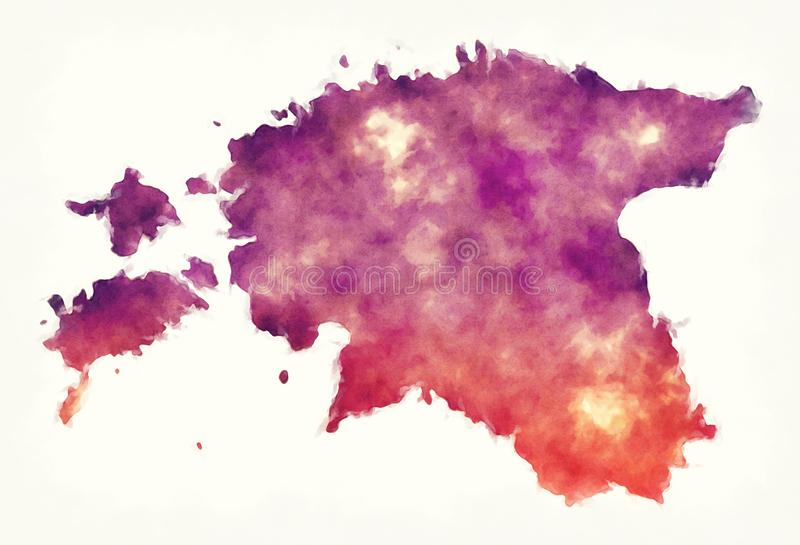 Estonia watercolor map in front of a white background vector illustration