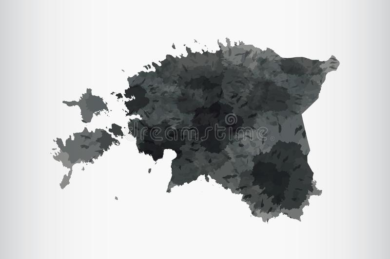 Estonia watercolor map vector illustration of black color on light background using paint brush in paper page royalty free illustration