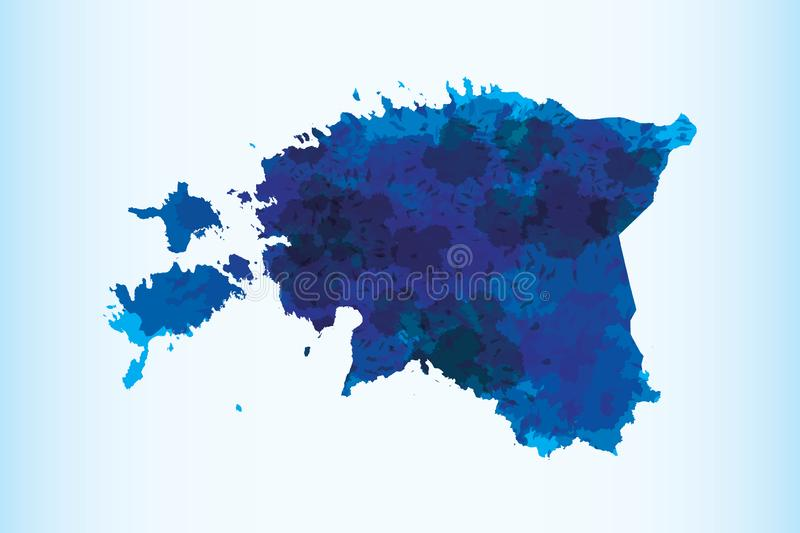 Estonia watercolor map vector illustration of blue color on light background using paint brush in paper page vector illustration