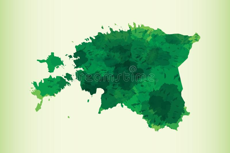 Estonia watercolor map vector illustration of green color on light background using paint brush in paper page vector illustration