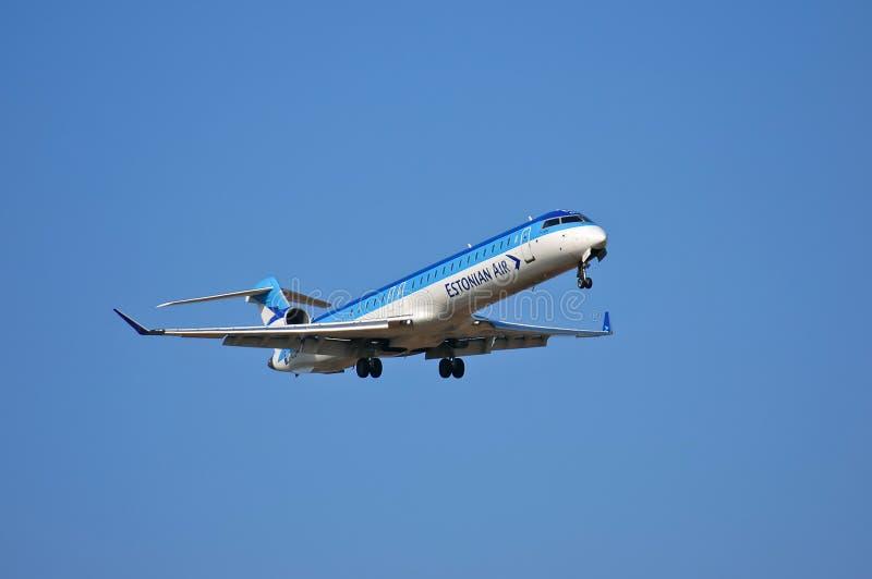 Estonian Air Canadair CL-600 royaltyfri foto