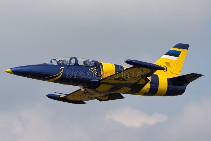 Estonian Air tvingar flygplan för instruktören för den Eesti Ohuvagi Aero L-39C albatrossstrålen royaltyfri foto